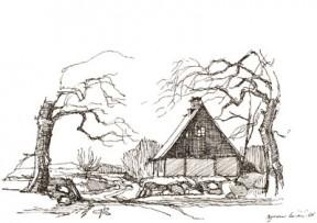 Samshuset med den gamle vej fra Fulden