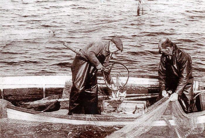 Fiskerne Peter Pagh Pedersen til venstre og Niels Kjær Rasmussen røgter bundgarn ved Ajstrup Strand 1955-60. Fiskerne var hjemmehørende i Norsminde Havn og havde bundgarn langs kysten fra Ømereden til Saxild. Flere havde åleruser i fjorden. Selvom Beder-Malling grænser op til Århus Bugten, fylder fiskeri ikke meget som erhverv med kun 10-15 beskæftigede.