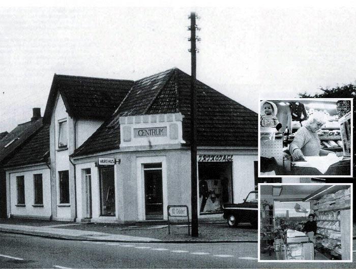 Billede 1: Centrum i slutningen af 1960'erne. Billede 2: Anny Mørk Nielsen i forretningen foto 2000-2005. Billede 3: AMN udvidelse af forretningen i 1969.