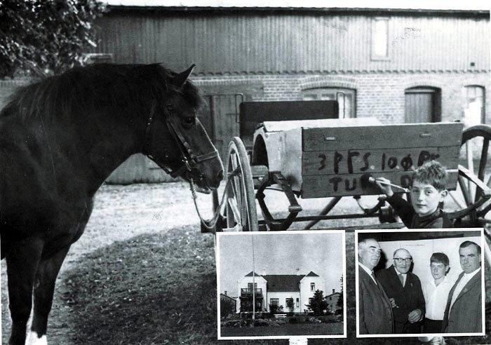Billede 1: Stig Øvle øver sig i 1960 på at være handelsmand. 10 øre pr. tur, der er plads til tre. Hesten ser interesseret til. Billede 2: Veilgården ca. 1930 postkort. Billede 3: Fra Øvle Slægtens 500 års jubilæum i 1963. Fra venstre Kristian Kristiansen, Jens Fogh, Stig Øvle og Knud Kristiansen.