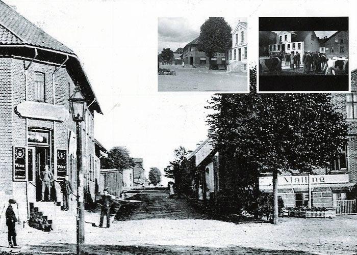 Billede 1. Postkort fra 1906, Torstensen Købmandsgârd til venstre og et kik op ad Ajstrupvej. Malling Gæstgivergärd til højre. Læg mærke til lygtepælen til venstre, dengang byens eneste. Billede 2. Stationspladsen ca. 1940. Til venstre mindesten for Niels Jensen fra 1904. Han grundlægger Malling Dampmølle og Savværk, Købmandsgârden, medstifter af Landbrugsskolen mv. Til venstre bagerst Vedels Sæbehus, Købmandsgården er ombygget i 1936, Hotel Malling er hvidkalket. Billede 3. Stor auktion på Stationspladsen i 1928 over kreaturer fra Karensminde, oprettet af Niels Jensen 1866-1870. A. Mønsted Hansen må i 1931 sælge Karensminde. Til højre sås stalden til hestene, mens ejerne tager toget. En bil holder foran kroen.