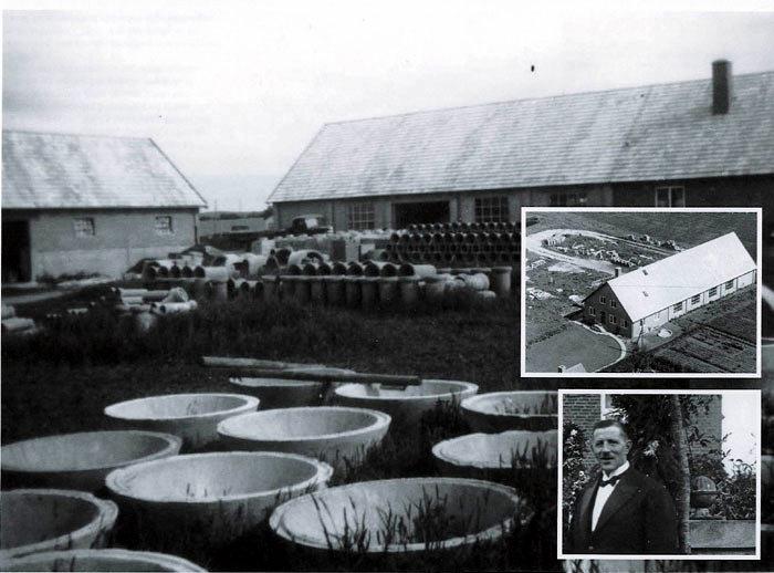 Billede 1: Her ses de støbte cementringe og bygningen fra nord 1947. Billede 2: Malling Betonvarefabrik 1947 set fra vest (Bredgade). Billede 3: Murermester Ferdinand Holm i 1927, som etablerede det første støberi på nuværende Rønhøjvej, tidligere Rønne Allé.