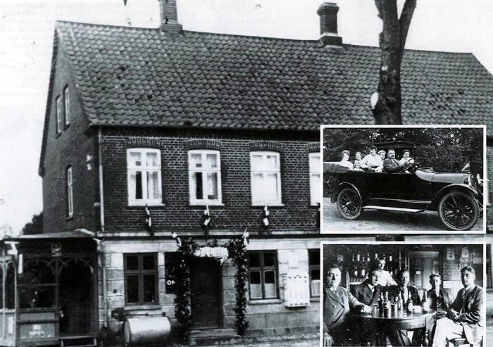 Billede 1: Beder Kro omkring 1930. Der er pyntet til fest. Billede 2: Kroejer Niels Peter Pedersen var rigtig glad for store biler, her en højrestyret med amerikansk flag ca.1925. Billede 3: Kroejeren til venstre er i godt selskab. Nr. 2 er Carl Nygård, 3 smed Chresten, 4 og 5 ukendt. Bagerst stående sønnen Ejnar.